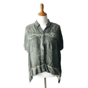 Free People Women's Green Button Front Top XS
